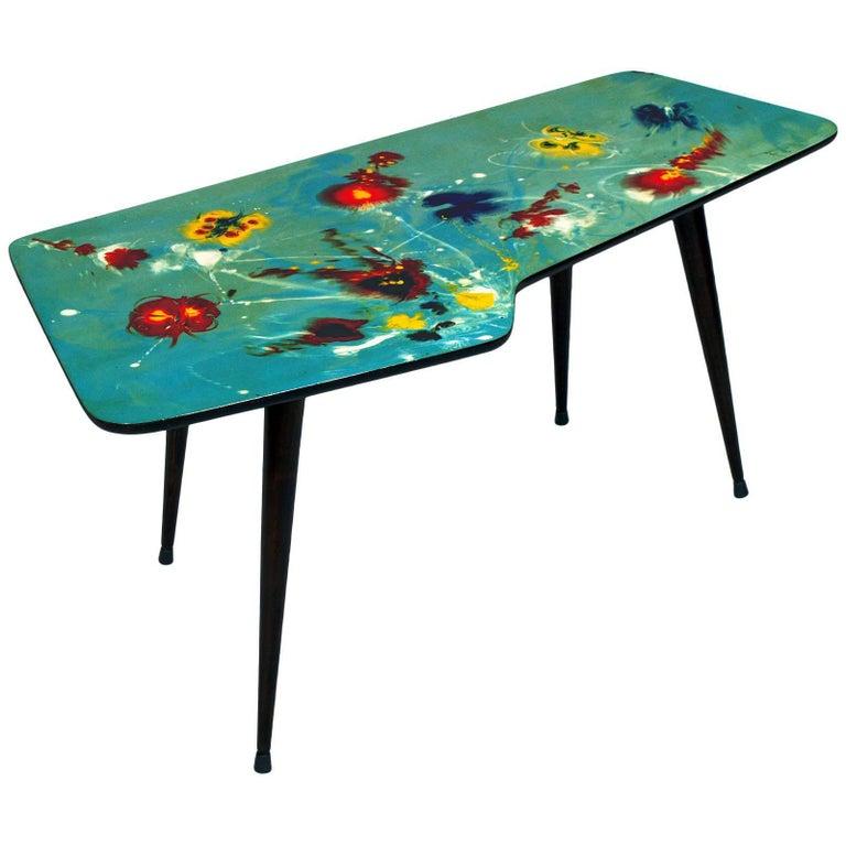 Free-Form Decorated 1950s Uncommon Coffee Table, Gio Ponti & De Poli Attributed