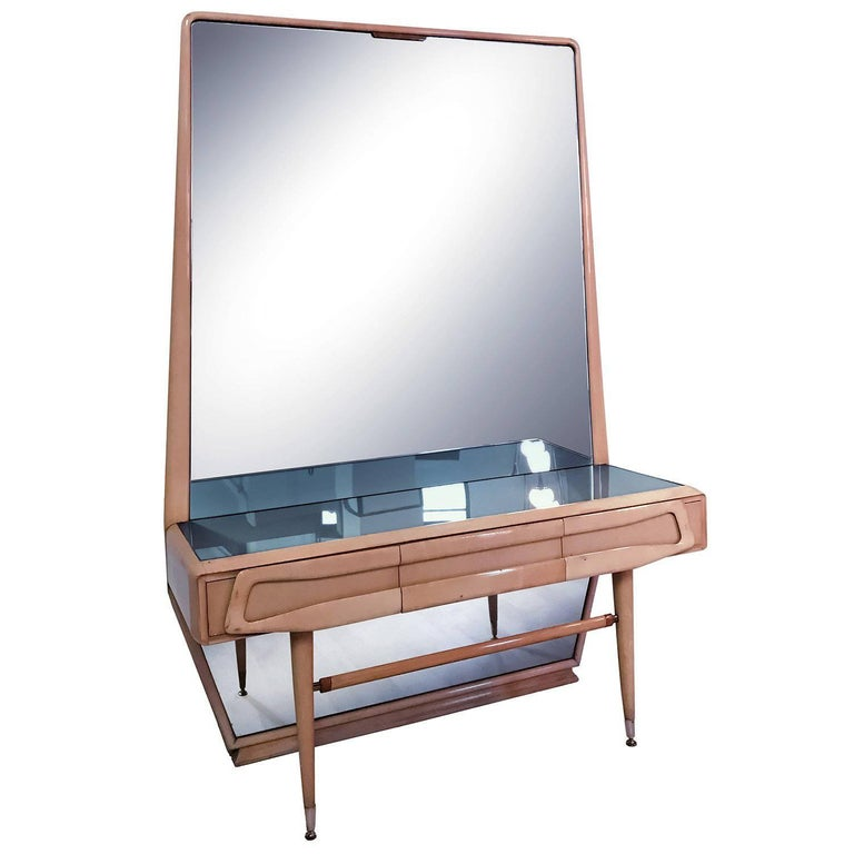Italian Maple Vanity Dresser with Mirror attributed to Silvio Cavatorta, 1950s