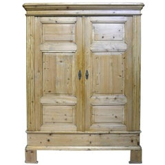 Classic North German Biedermeier Armoire, Scrubbed Pine, c. 1830
