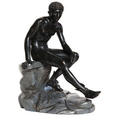 Large 19th Century Bronze of a Seated Mercury on a Marble Base