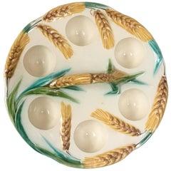 Majolica Egg Handled Plate with Wheat, circa 1900