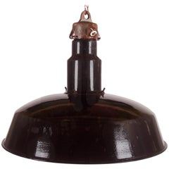 Large Black Enameled Czech Factory, Industrial Pendant Lamp