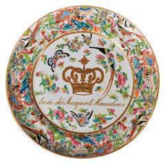 Chinese Export Cuban Armorial Plate for Marquis de Almendares