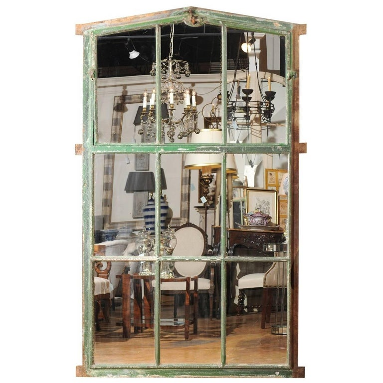 Large Green Painted Iron 19th Century Window from Brussels Made into a Mirror