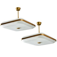 Two Model 2022 Flush Mount Ceiling Lights by Max Ingrand by Fontana Arte