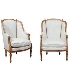 Pair of Italian Neoclassical Style 19th Century Wingback Bergères, Upholstered