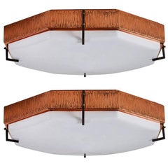 Two Italian Hexagonal Flush Mount Ceiling Lights