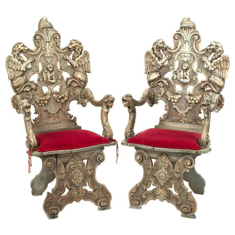 Pair of Carved Italian Sgabello Armchairs