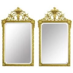 Pair of Giltwood and Gesso in Louis XVI Style Beveled Mirrors