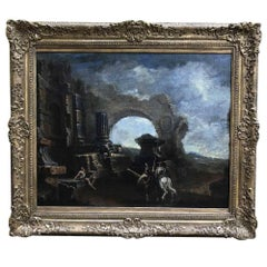 Large Italian Capriccio of Ruins Baroque Landscape after Magnasco 18th Century