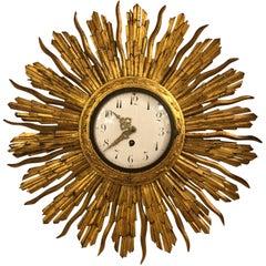 19th Century Barometer French Starburst Clock