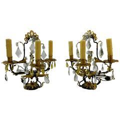 Pair of Italian Tôle Peinte Three-Light Girandole or Lamps, 19th Century