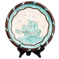 Jerome Massier Vallauris French Terracotta Dish with Sailboat, 1950s