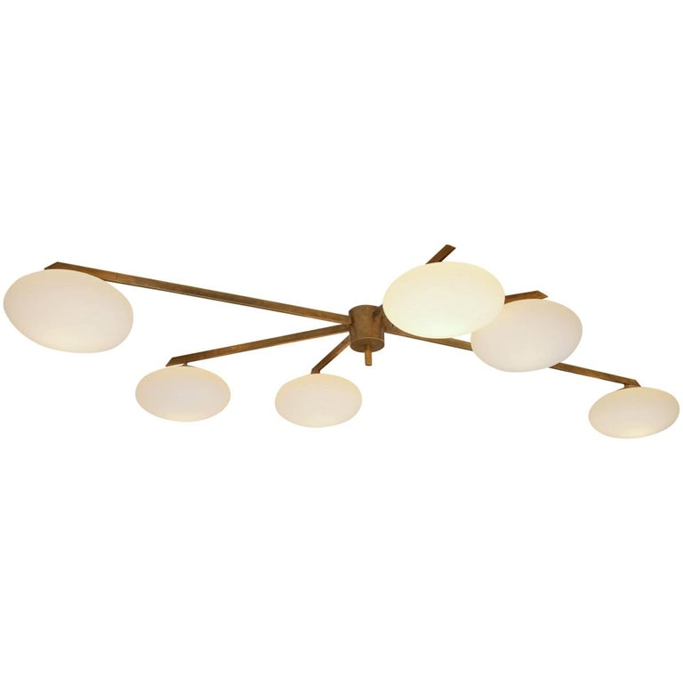 Brass and Opaline Shade Flush Mount in the Style of Angelo Lelli