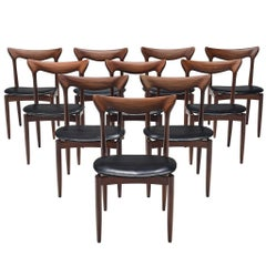 Set of Ten Dining Chairs by H.W. Klein in Mahogany