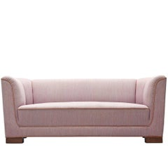 Danish High Back Pink Settee with Rosewood