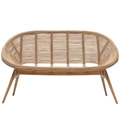 Shell Settee in Bamboo and Beech Basket