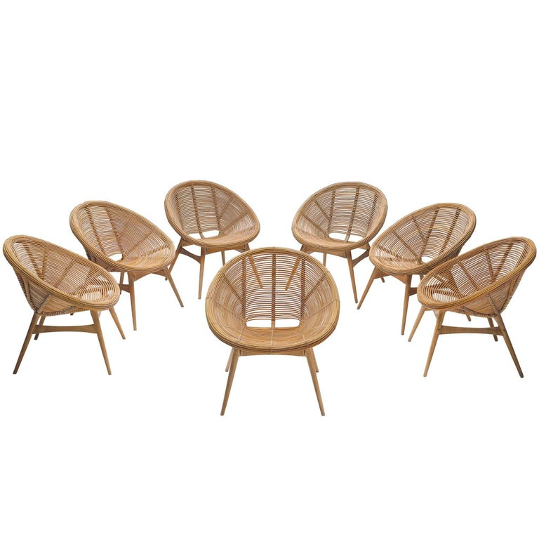 Large Set of Bamboo Shell Chairs