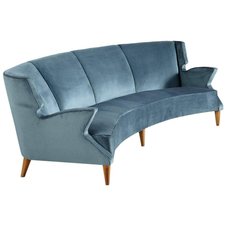 Large Italian Four-Seat Curved Sofa