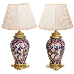 Pair of 19th Century Japanese Imari Vases / Lamps
