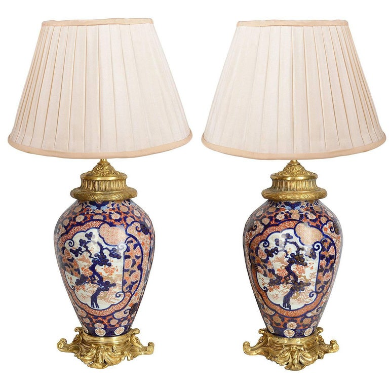 Pair of 19th Century Japanese Imari Vases / Lamps