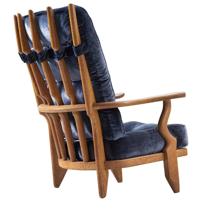 Guillerme & Chambron High Back Lounge Chair with Blue Velvet Upholstery