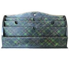 Scottish Green Tartan Letter Holder Shelf, circa 1860-1880