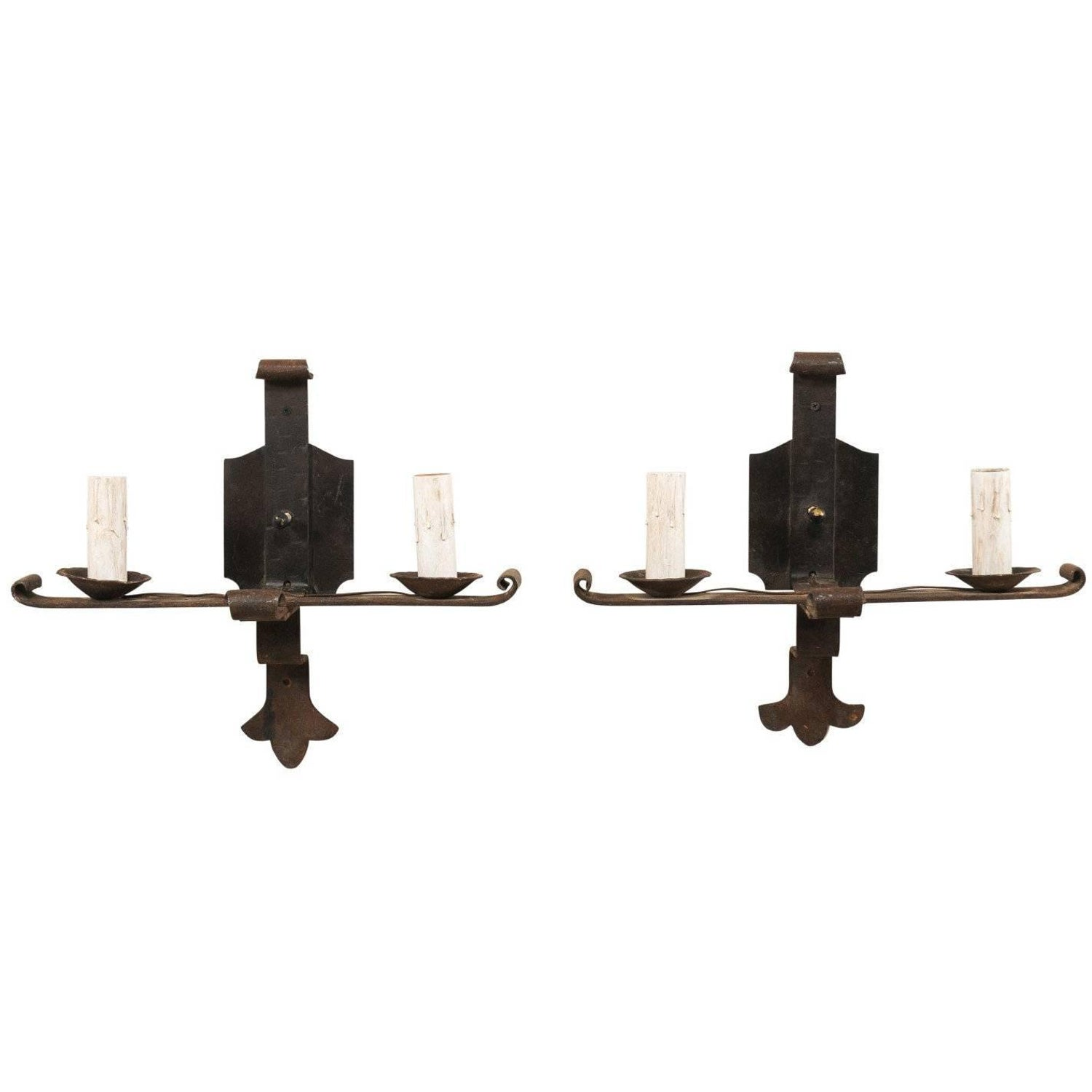 Pair Of Spanish Black Forged Iron Two Light Sconces With Metal