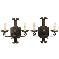 Pair of French Two-Light Hand-Forged Iron Sconces with Scrolled Arms