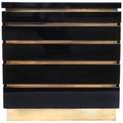 Jean Claude Mahey, 1970s Black Lacquered Chest of Drawers