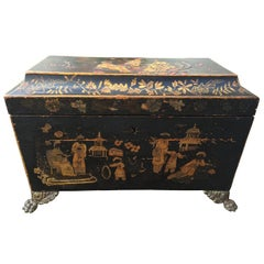 18th Century English Chinoiserie Tea Caddy