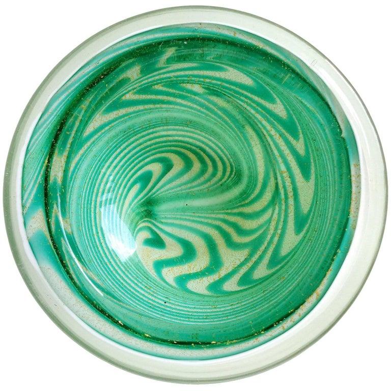 Fratelli Toso Ed Langbein Murano Green Swirl Gold Flecks Italian Art Glass Bowl