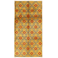 Vintage Turkish Rug with Modern Design in Bright Yellow, Tangerine and Blue