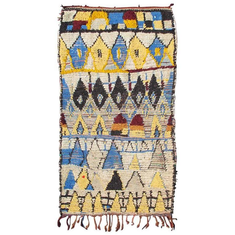 Boucherouite Moroccan Rug With Blue And Yellow Colors At