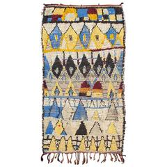 Boucherouite Moroccan Rug with Blue and Yellow Colors
