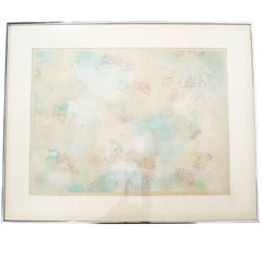 Mid-Century Modern Framed Abstract Litho Robert Natkin Dated 1970s