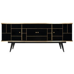 Vintage French Black Glass Buffet
