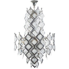Italian Brutalist Steel Plate and Murano Occluded Glass Pendant Chandelier