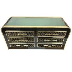 Romeo Rega Dresser in Floral Velvet, Brass and Glass Italy, Mid-Century Modern