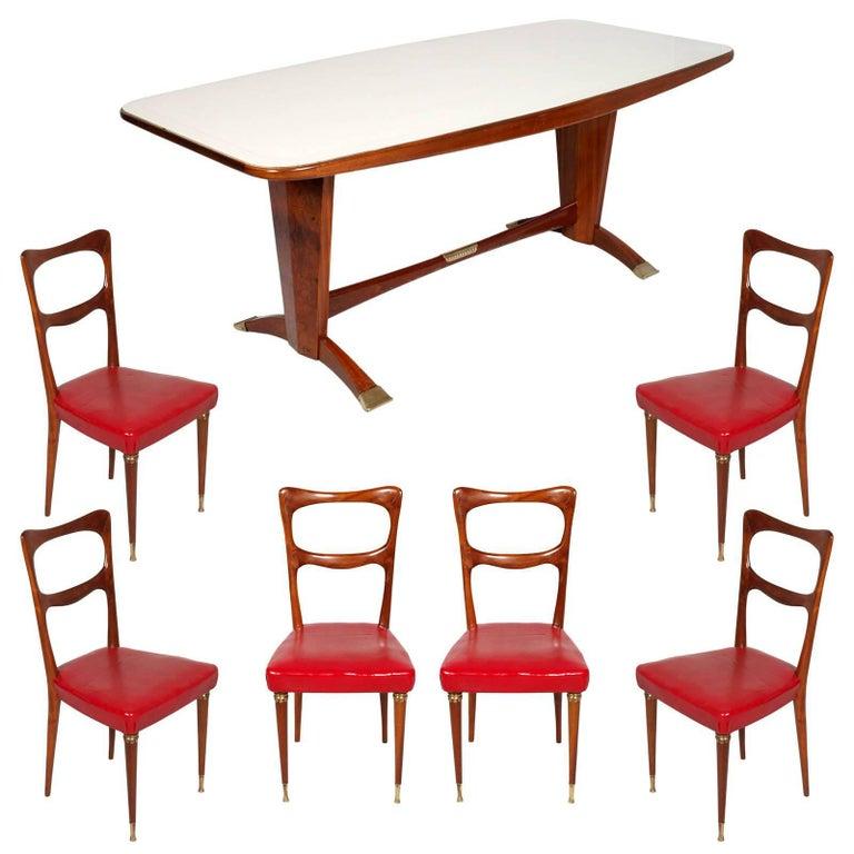 1950s Dining Room Cantù Set Melchiorre Bega Attributable in Mahogany