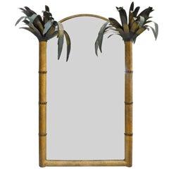 1970s Brass Hammered Palm Tree Tropicana Era Mirror