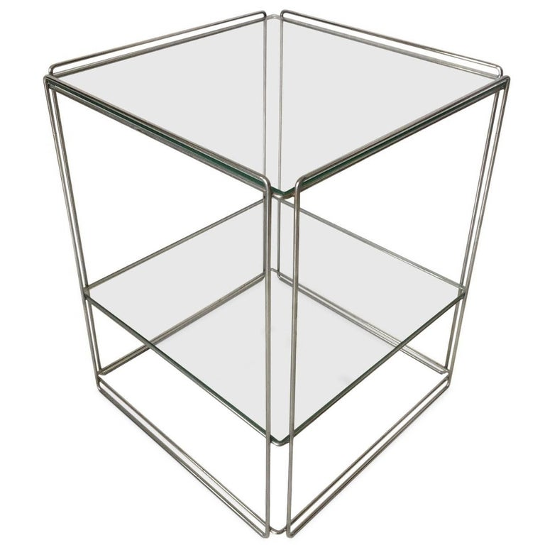 Max Sauze Two-Tiered Silver Side Table, circa 1960s