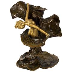 Chalon French Art Nouveau Gilt and Patinated Bronze Loïe Fuller