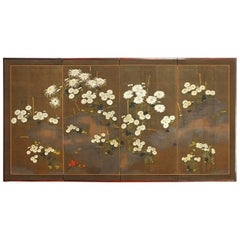Japanese Meiji Four-Panel Moriage Style Chrysanthemum Screen