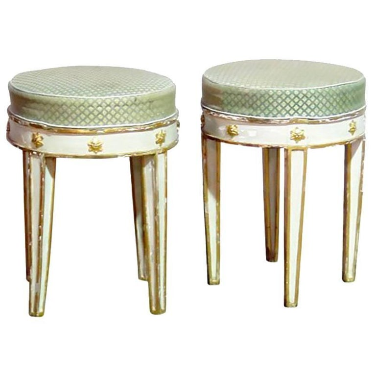 18th Century Pair of Swedish Painted and Gilt Tabouret Stools