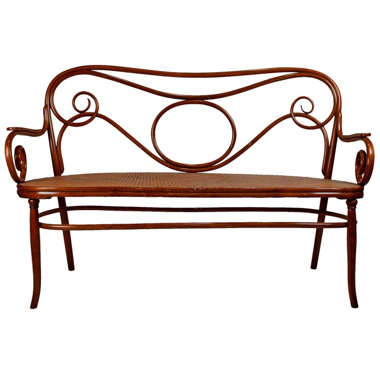 Gebruder Thonet Viennese Secessionist Bentwood Settee Designed by August Thonet