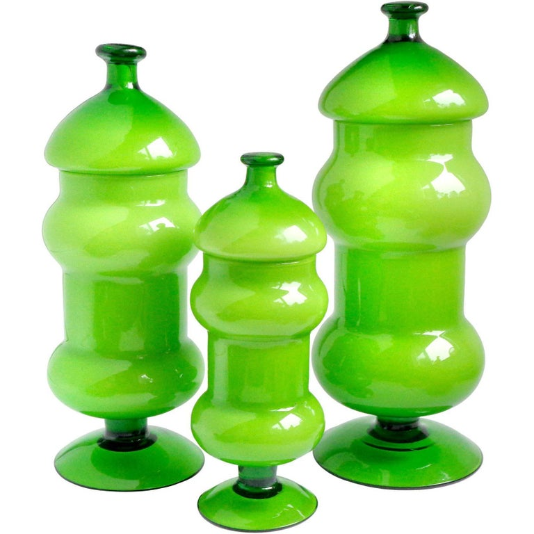Empoli Bright Green over White Italian Art Glass Three-Piece Container Set