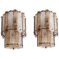 """15 Pieces, Stunning Striped """"Corteccia"""" Glass Pendants Attributed to Venini"""