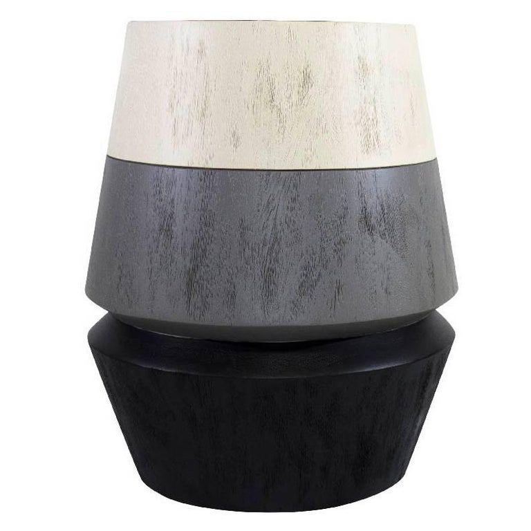Contemporary Capirucho Turned Side Table, Wood and Tricolor Brushed by Labrica
