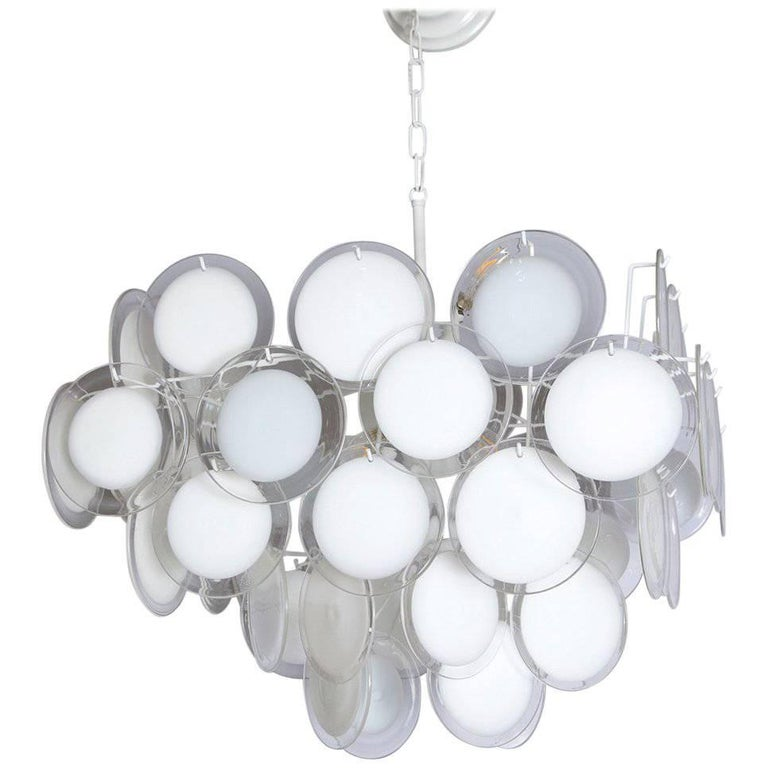 Fully Restored Large 1970s White Vistosi Disc Chandelier For Sale
